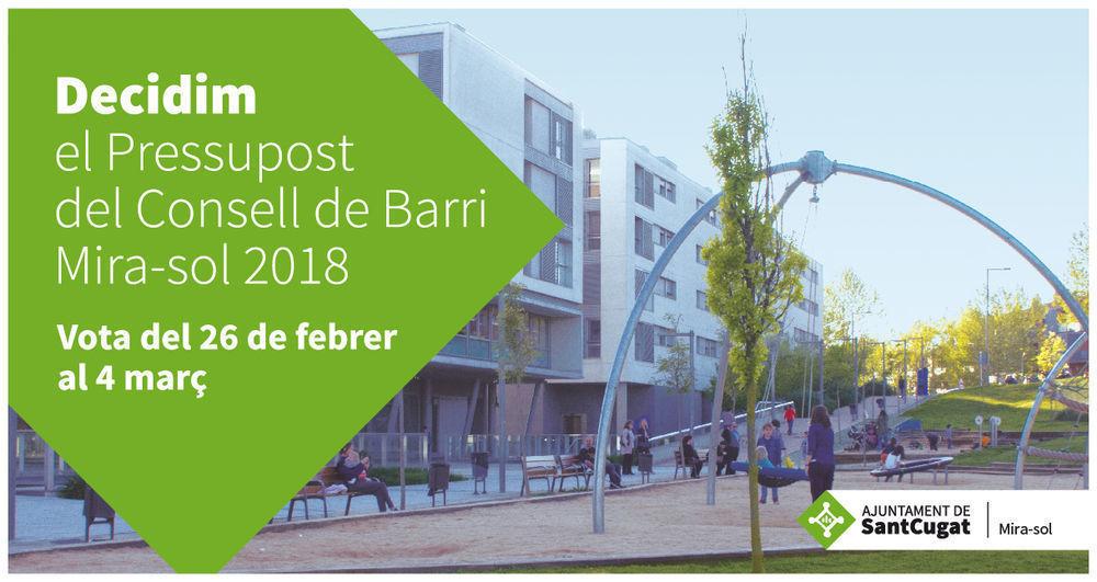 Decidim el pressupost del Consell de Barri de Mira-sol 2018